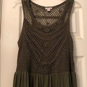 Olive green maxi dress XL